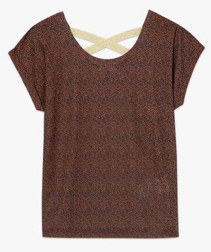 Tee-shirt femme à motifs pailletés et brides croisées dos vue4 - GEMO(FEMME PAP) - GEMO