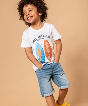 Bermuda garçon en jean avec revers cousus vue6 - GEMO (ENFANT) - GEMO