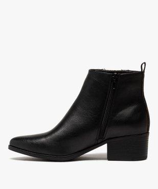 Boots femme à talon large avec zip décoratif vue3 - GEMO (CASUAL) - GEMO