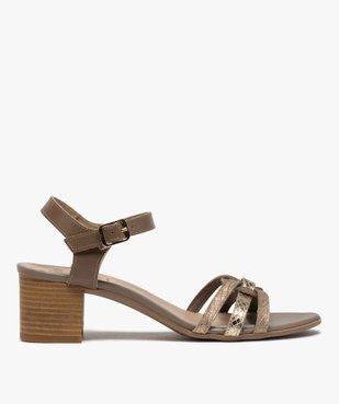 Sandales femme à talon carré et brides métallisées vue1 - GEMO(URBAIN) - GEMO