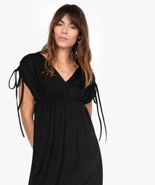 Robe de soirée femme avec manches froncées vue2 - GEMO(FEMME PAP) - GEMO