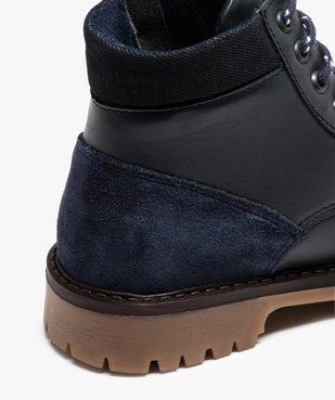 Boots garçon avec dessus cuir uni et semelle crantée vue6 - GEMO - GEMO