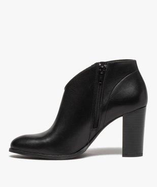 Low-boots femme à talon droit dessus cuir uni vue3 - GEMO(URBAIN) - GEMO