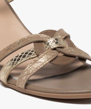 Sandales femme à talon carré et brides métallisées vue6 - GEMO(URBAIN) - GEMO