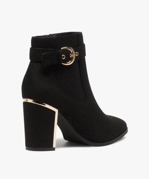 Boots femme à talon unis en suédine détails métallisés vue4 - GEMO(URBAIN) - GEMO