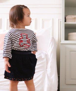 Tee-shirt bébé fille à rayures et motif sequins – Lulu Castagnette vue1 - LULUCASTAGNETTE - GEMO