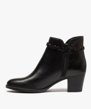 Boots femme unies à talon dessus cuir et bride fantaisie vue3 - GEMO(URBAIN) - GEMO