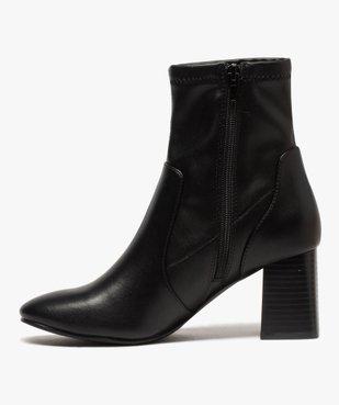 Boots femme unies à talon carré et col ajusté vue3 - GEMO(URBAIN) - GEMO