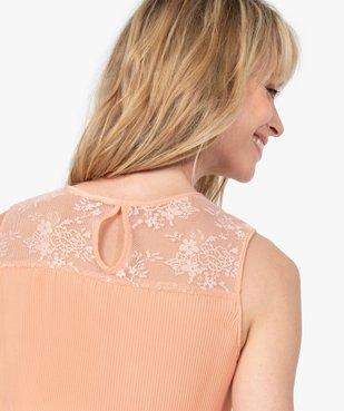 Chemise femme plissée sans manches avec dentelle vue2 - GEMO(FEMME PAP) - GEMO