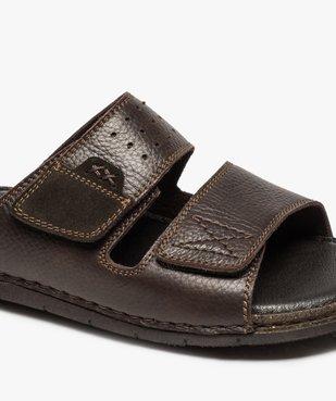 Sandales homme mules dessus et intérieur cuir vue6 - ZEN AIR - GEMO