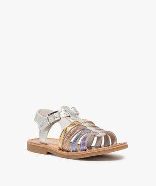 Sandales filles à brides en cuir arc-en-ciel - Bopy vue2 - BOPY - GEMO