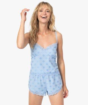 Haut de pyjama femme crop top à fines bretelles et pois - LuluCastagnette vue5 - LULUCASTAGNETTE - GEMO