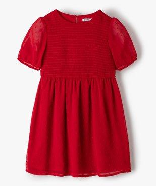 Robe fille courte à smocks et voile plumetis vue1 - GEMO (ENFANT) - GEMO