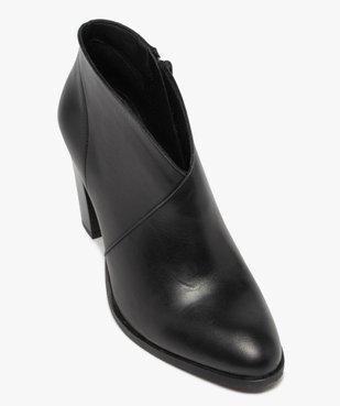 Low-boots femme à talon droit dessus cuir uni vue5 - GEMO(URBAIN) - GEMO