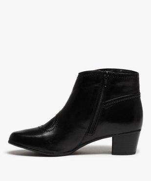 Boots femme à talon dessus cuir uni vue3 - GEMO(URBAIN) - GEMO