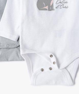 Body bébé fille manches longues à motifs divers (lot de 3) vue3 - GEMO C4G BEBE - GEMO