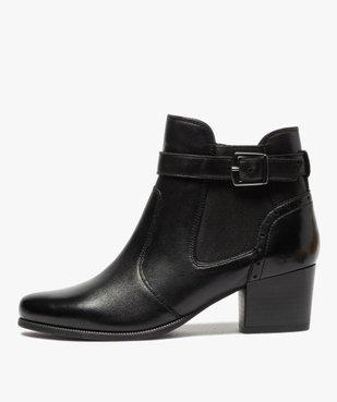 Boots femme à talon rainuré dessus cuir uni vue1 - GEMO(URBAIN) - GEMO