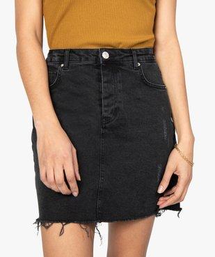 Jupe femme en jean aspect usé vue2 - GEMO(FEMME PAP) - GEMO