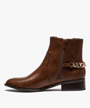 Boots femme unies à talon plat avec chaîne sur l'arrière vue3 - GEMO (CASUAL) - GEMO