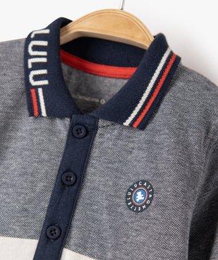 Polo bébé garçon tricolore à manches longues – Lulu Castagnette vue2 - LULUCASTAGNETTE - GEMO