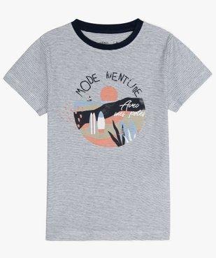 Tee-shirt garçon rayé avec motif sur l'avant vue1 - GEMO (ENFANT) - GEMO