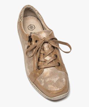 Derbies femme confort à lacets et zip dessus cuir vue5 - GEMO (CASUAL) - GEMO