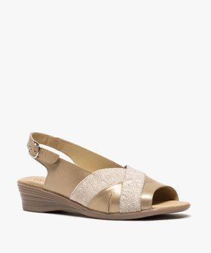 Sandales femme confort en cuir avec détails brillants vue2 - GEMO (CONFORT) - GEMO