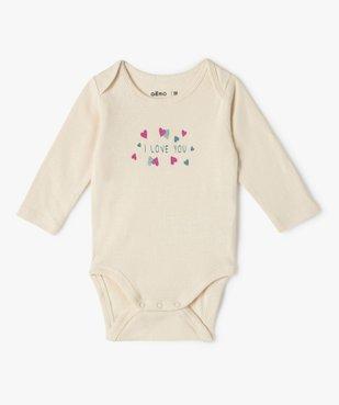 Body bébé manches longues motifs cœurs (lot de 3) vue3 - GEMO C4G BEBE - GEMO