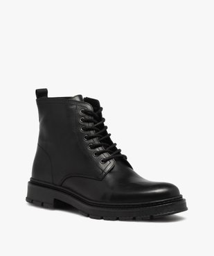 Boots homme dessus cuir uni et semelle crantée vue2 - GEMO(URBAIN) - GEMO
