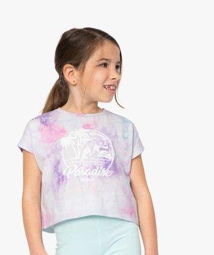 Tee-shirt court fille avec motif scintillant sur l'avant vue1 - GEMO (ENFANT) - GEMO