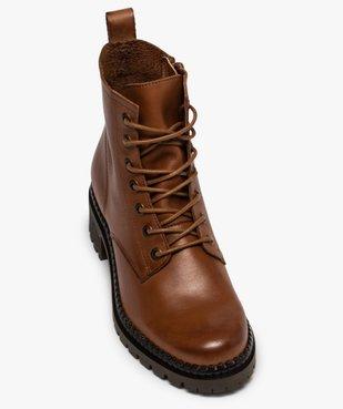 Boots femme dessus cuir uni à lacets et semelle crantée vue5 - GEMO (CASUAL) - GEMO