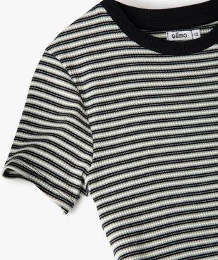 Tee-shirt fille rayé à manches courtes vue2 - GEMO C4G FILLE - GEMO