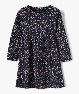 Robe fille à manches longues en maille à motifs fleuris vue1 - GEMO C4G FILLE - GEMO