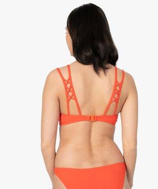 Haut de maillot de bain femme push-up maille côtelée vue2 - GEMO (PLAGE) - GEMO