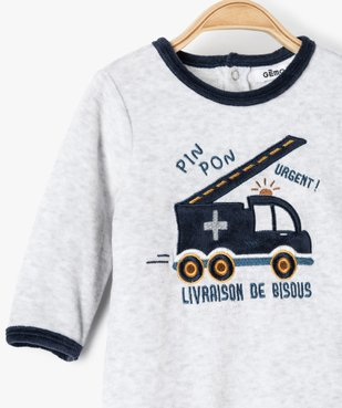 Pyjama bébé garçon en velours avec motif camion de pompiers vue2 - GEMO(BB COUCHE) - GEMO