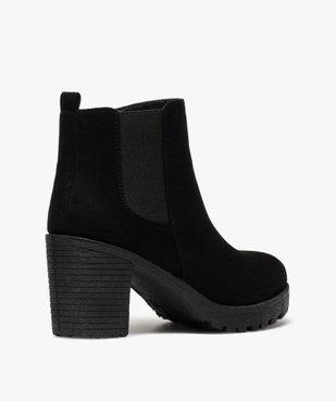 Boots femme à talon et semelle crantée en suédine unie vue4 - GEMO(URBAIN) - GEMO
