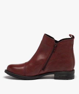Boots femme à talon plat dessus en cuir uni vue3 - GEMO (CASUAL) - GEMO