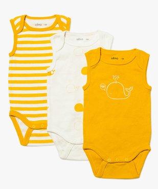 Body bébé garçon sans manches à motifs baleines (lot de 3)  vue1 - GEMO C4G BEBE - GEMO