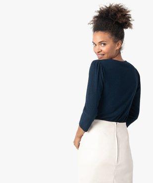 Tee-shirt femme à manches 3/4 en maille gaufrée  vue3 - GEMO(FEMME PAP) - GEMO