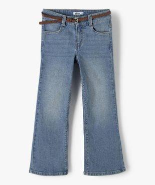 Jean fille coupe bootcut avec ceinture pailletée vue1 - Nikesneakers (ENFANT) - Nikesneakers