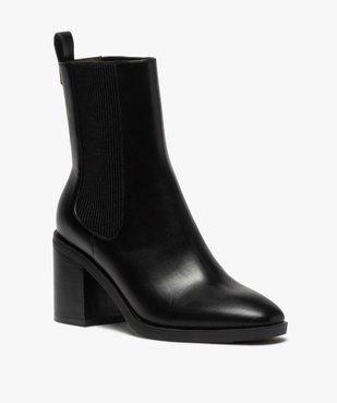 Boots femme à talon carré dessus uni style chelsea vue2 - GEMO(URBAIN) - GEMO