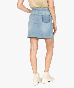 Jupe en jean femme courte avec ceinture à nouer vue3 - GEMO(FEMME PAP) - GEMO