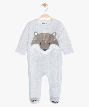 Pyjama bébé en velours motif renard vue1 - GEMO(BEBE DEBT) - GEMO