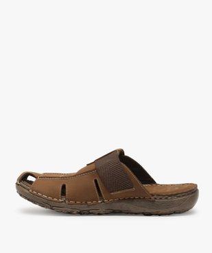 Sandales homme mules à semelle intérieure cuir - Roadsign vue3 - ROADSIGN - GEMO