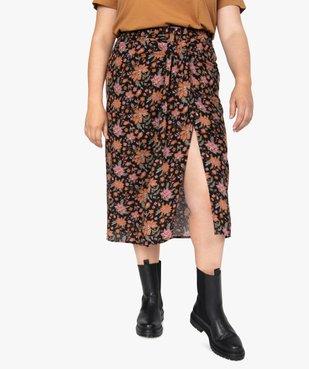 Jupe femme fendue sur l'avant à motifs fleuris vue1 - GEMO (G TAILLE) - GEMO