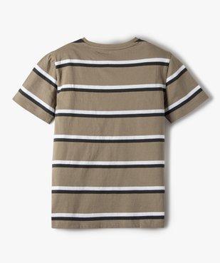 Tee-shirt garçon rayé à manches courtes 100% coton biologique vue3 - GEMO C4G GARCON - GEMO