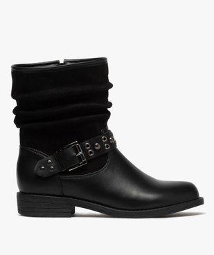 Boots femme style motardes unies à talon plat vue1 - GEMO (CASUAL) - GEMO