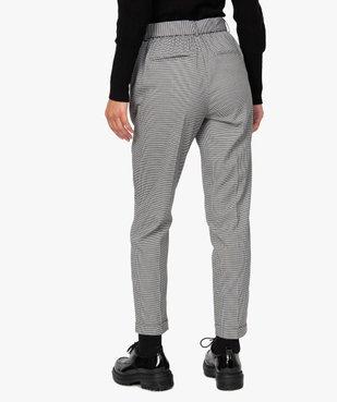 Pantalon femme pied-de-poule à ceinture et revers vue3 - GEMO(FEMME PAP) - GEMO