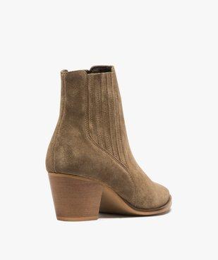 Boots femme à talon dessus cuir uni style santiag vue4 - GEMO(URBAIN) - GEMO