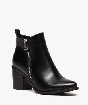 Boots femme à talon avec zip sur le côté vue2 - GEMO(URBAIN) - GEMO